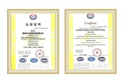 双子星体育用品ISO9001认证证书